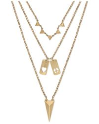 ABS By Allen Schwartz | Metallic Gold-tone Three-row Pendant Necklace | Lyst