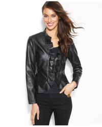 INC International Concepts - Black Faux-Leather Ruffle Jacket - Lyst