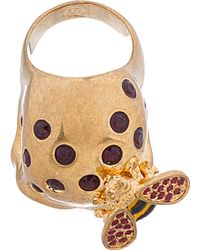 Alexander McQueen - Metallic Gold and Silver Skull and Bee Ring - Lyst