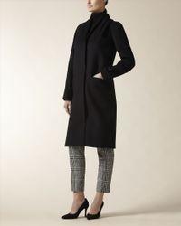 Jaeger - Black Wool Cashmere Drape Front Coat - Lyst