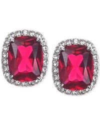 Judith Jack - Red Sterling Silver Crystal Corundum And Cubic Zirconia Stud Earrings - Lyst