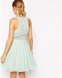 ASOS | Green Crop Top Skater Dress With Sequin Droplets | Lyst