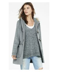 Express - Gray Toggle Duffle Coat - Lyst