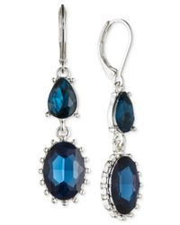 Nine West | Silver-tone Blue Crystal Double Drop Earrings | Lyst