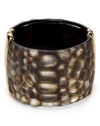 Alexis Bittar - Metallic Crocodiletextured Lucite Liquid Metal Hinge Cuff - Lyst