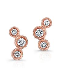 Anne Sisteron | Metallic 14kt Rose Gold Bezel Set Diamond Hazel Earrings | Lyst