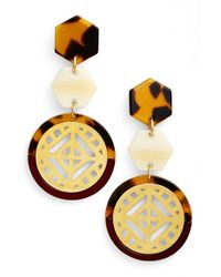 Tory Burch - Red Drop Earrings - Cabernet/ Tortoise/ Shiny Gold - Lyst