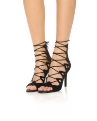 Joie | Black Quinn Lace Up Sandals | Lyst