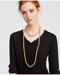 Ann Taylor - Natural Pearlized Crystal Sunburst Double Layer Necklace - Lyst