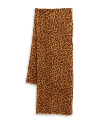 Lauren by Ralph Lauren | Brown Cheetah Print Knit Scarf | Lyst
