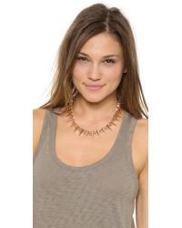 Fallon - Metallic Swarovski Immitation Pearl Tipped Spike Necklace Rose Goldpearl - Lyst
