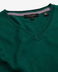 Ted Baker - Green Merino Wool V-Neck Jumper for Men - Lyst