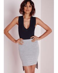 Missguided - Blue Extreme Drop Front Bodysuit Navy - Lyst