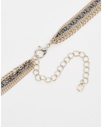 Oasis - Multicolor Pave Triangle Multirow Necklace - Lyst