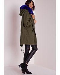 Missguided - Blue Cobalt Fur Parka Jacket Khaki - Lyst