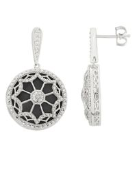 Lord & Taylor | Black Sterling Silver Onyx And Diamond Earrings | Lyst