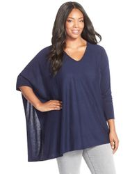 Sejour | Blue Asymmetrical Cotton Blend V-neck Poncho | Lyst