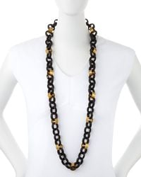 Ashley Pittman | Black Jinsi Dark Horn Round Chain Necklace | Lyst