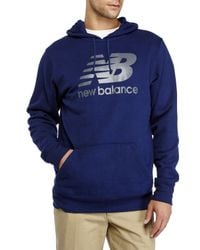 New Balance - Blue Graphic Logo Hoodie for Men - Lyst