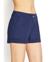 Forever 21 - Blue Woven Cuffed Shorts - Lyst