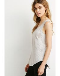 Forever 21 - Gray Button Back Linen Tank - Lyst