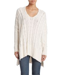 Free People | White Oversized Cable Knit Sweater | Lyst