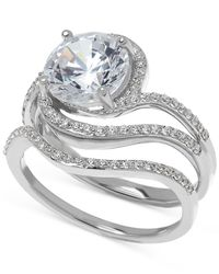Arabella - Metallic Swarovski Zirconia Bridal Set Ring In Sterling Silver - Lyst