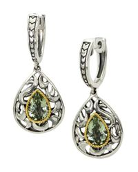 Effy | Metallic Green Amethyst, Sterling Silver And 18k Yellow Gold Drop Earrings | Lyst