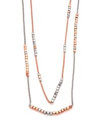 Tory Burch - Multicolor Geo-cube Two-tone Double-strand Necklace - Lyst