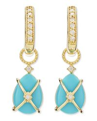 Jude Frances - Yellow Wrapped Turquoise Earring Charms With Diamonds - Lyst
