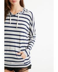 Forever 21 - Blue Striped Drawstring Hoodie - Lyst