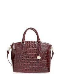 Brahmin - Purple 'medium Duxbury' Croc Embossed Leather Satchel - Lyst