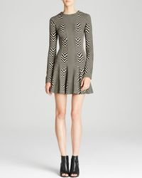Nicole Miller Artelier   Black Dress - Herringbone Knit Fit And Flare   Lyst