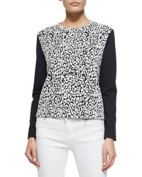 kate spade new york - Natural Long-sleeve Leopard-print Top - Lyst