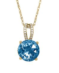 Lord & Taylor | Blue Topaz Diamond And 14k Yellow Gold Pendant Necklace | Lyst