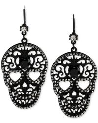 Betsey Johnson | Blackout Filigree Skull Drop Earrings | Lyst