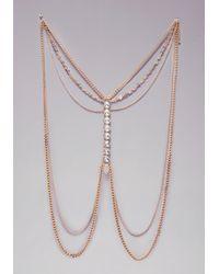 Bebe - Metallic Crystal Body Chain - Lyst