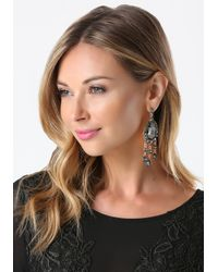 Bebe - Black Fringe & Stone Earrings - Lyst