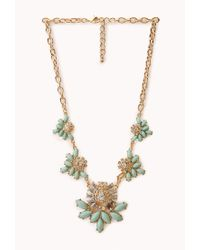 Forever 21 | Green Charmed Faux Stone Bib Necklace | Lyst