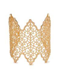 Isharya - Metallic Filigree Spoke 18Kt Gold Plated Cuff - Lyst