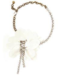 Lanvin - Metallic Petal-embellished Gold Tone Necklace - Lyst