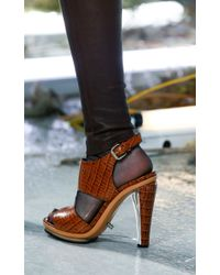 Rodarte | Brown Embossed Crocodile Leather Sandal With Clear Lucite Wedge | Lyst
