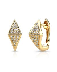 Anne Sisteron | 14kt Yellow Gold Diamond Double Triangle Huggie Earrings | Lyst