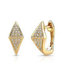 Anne Sisteron - 14kt Yellow Gold Diamond Double Triangle Huggie Earrings - Lyst