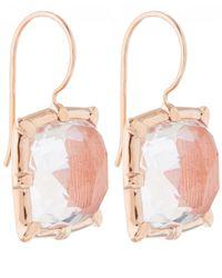 Larkspur & Hawk | Pink Peach Rose Gold Quartz Bella One Drop Earrings | Lyst