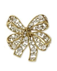 Kenneth Jay Lane | Metallic Light Antique Gold Crystal Bow Brooch | Lyst