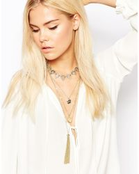 Oasis - Metallic Multi Row Necklace - Lyst
