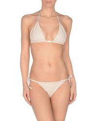 Fendi - White Checked-Print Triangle Bikini - Lyst