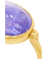 "Marie-hélène De Taillac | Blue 22K Yellow Gold And Cabochon Tanzanite ""Swivel"" Ring 