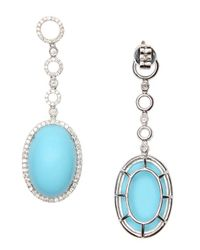 Vendoro - Blue Turquoise And Diamond Drop Earrings - Lyst